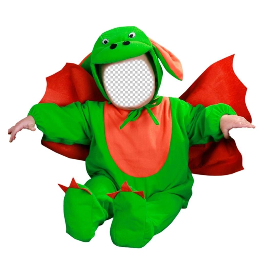 Photomontage pour modifier un costume de dragon vert avec votre photo