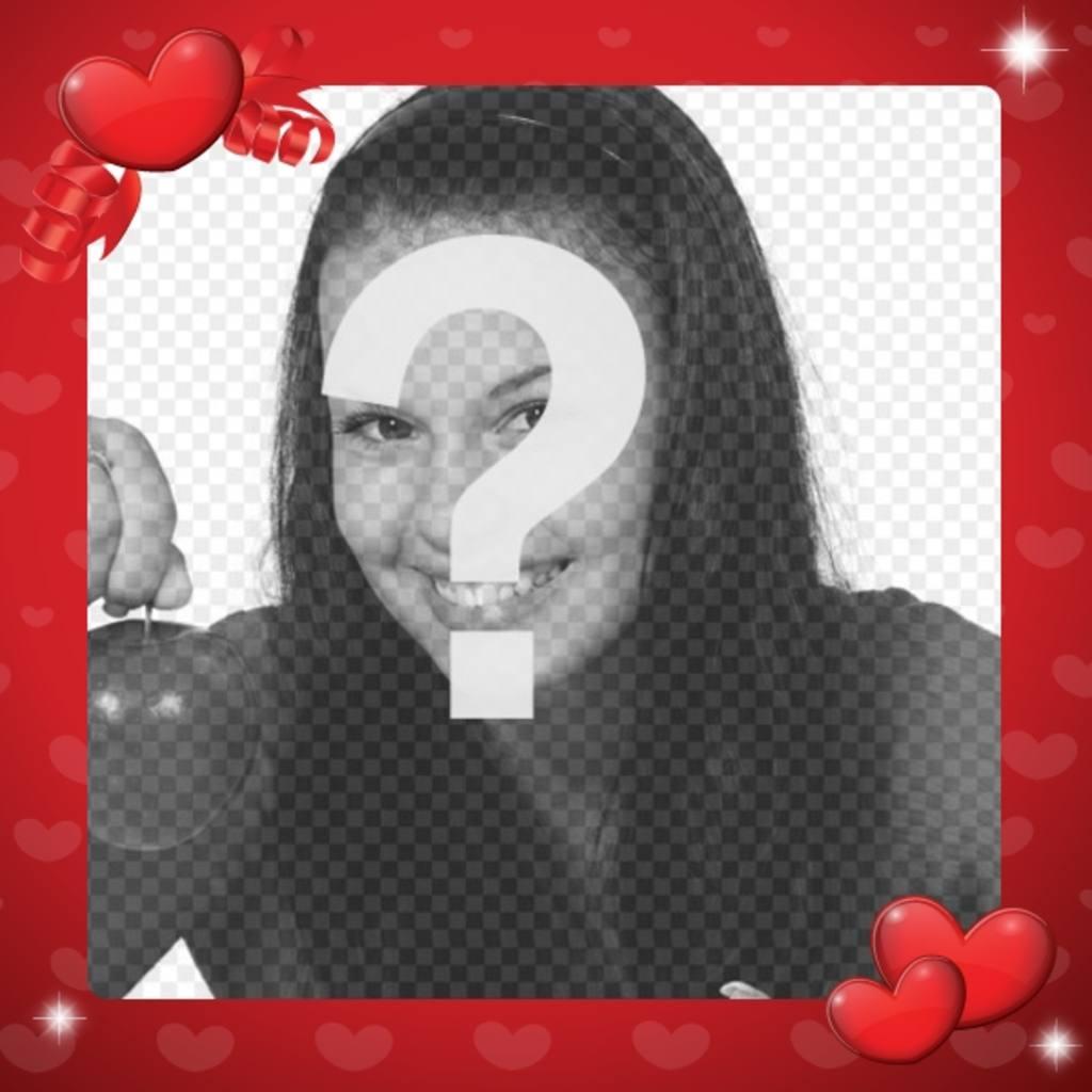 Cadre photo damour pour décorer votre photo avec des coeurs rouges