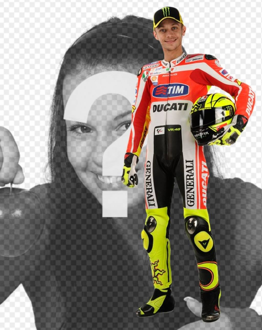 """Photomontage avec Valentino Rossi, Moto GP coureur, dans son uniforme de Ducati et un casque sous le bras. Apparaît à côté du célèbre motard, (maintenant dans Yamaha) et ajouter du texte dans l""""image gratuitement"""