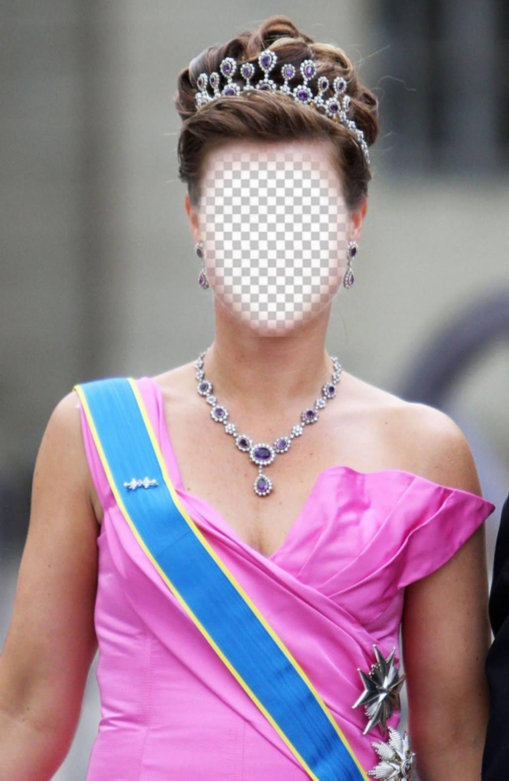 Photomontage dune princesse avec la couronne et vêtu de gala pour mettre votre