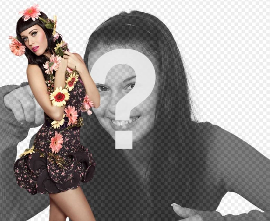 Photomontage avec la chanteuse Katy Perry avec les fleurs et le style de pin-up avec robe noire et les cheveux noirs avec bang