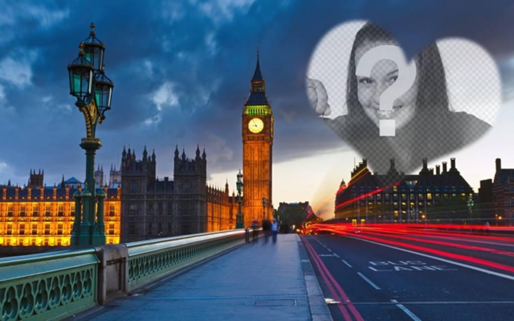 Amour photomontage à Londres avec le Big Ben dans le fond et un cœur semi placer la photo que vous souhaitez
