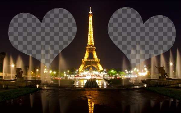 Photomontage avec la tour Eiffel illuminée à Paris et deux coeurs où placer vos photos