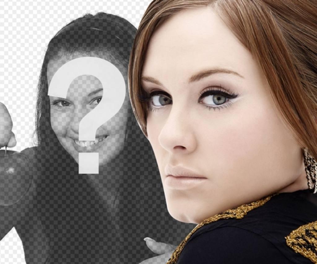 Photomontage avec la chanteuse Adele dans laquelle vous pouvez obtenir une photo avec son portrait et les vôtres et ajouter du texte