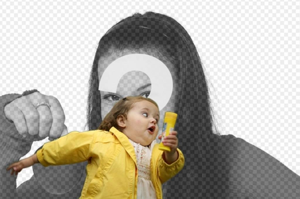 """Photomontage avec la fille de bulle dans l""""imperméable jaune et le meme mode où vous placez votre photo et texte"""