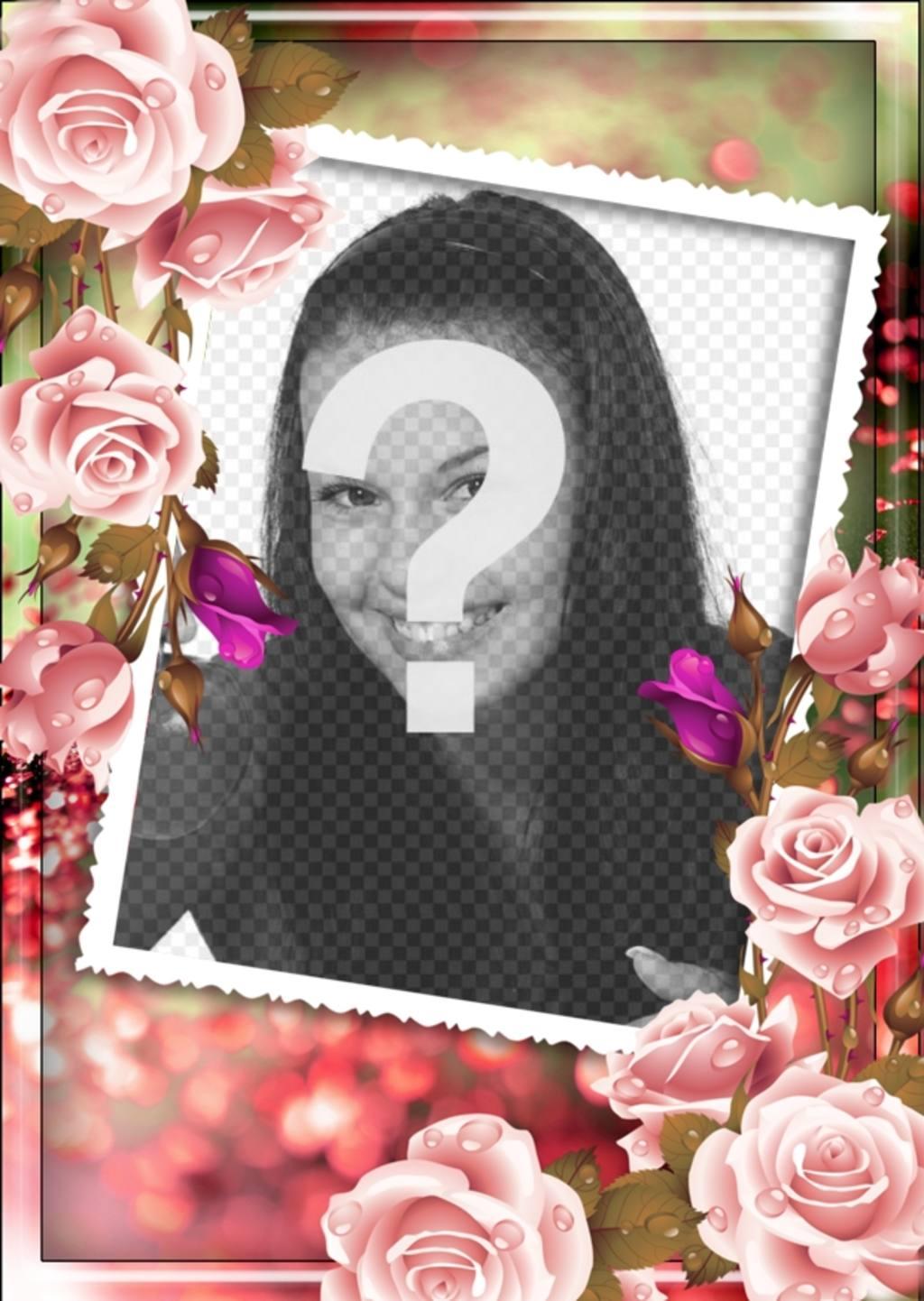 Cadre photo avec des roses autour et un fond rose et vert brouillé à personnaliser avec photo et texte
