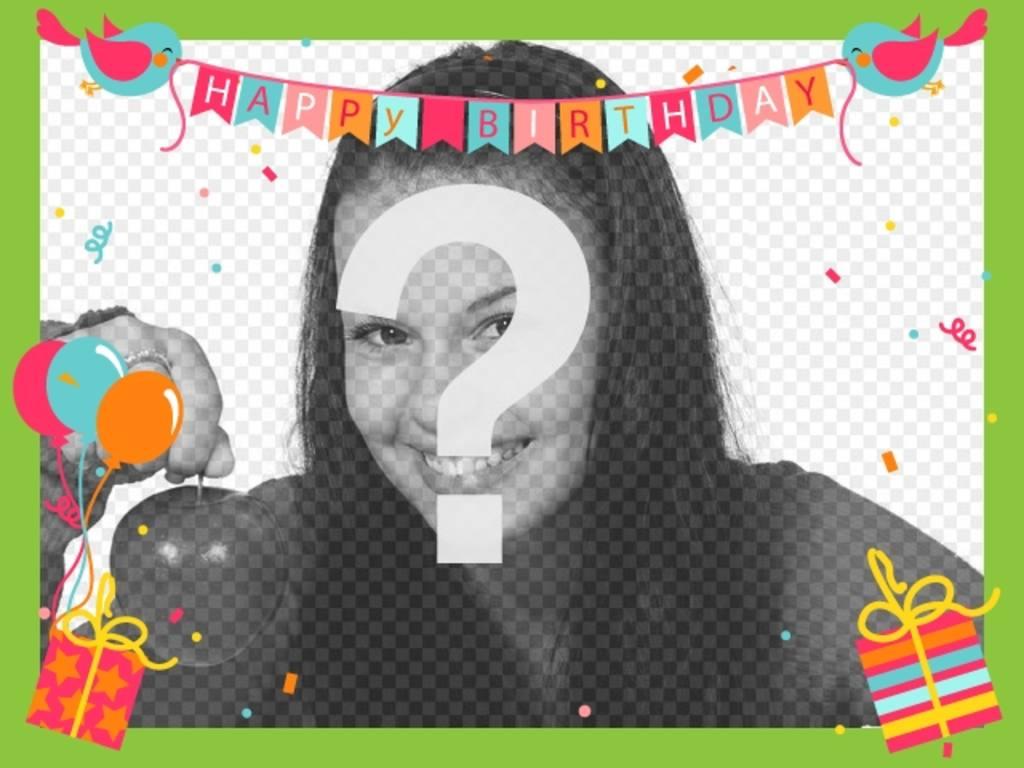 """Carte d""""anniversaire avec des ballons, des drapeaux avec des oiseaux, des cadeaux, des confettis et un cadre vert"""