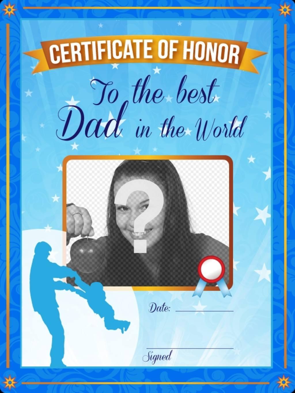 """Certificat d""""honneur pour le meilleur père au monde. Un certificat bleu personnalisé avec une photo et un texte"""
