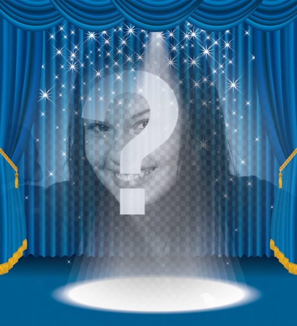 Photomontage dans lequel vous apparaîtrez sur une scène avec lumières et rideaux bleu