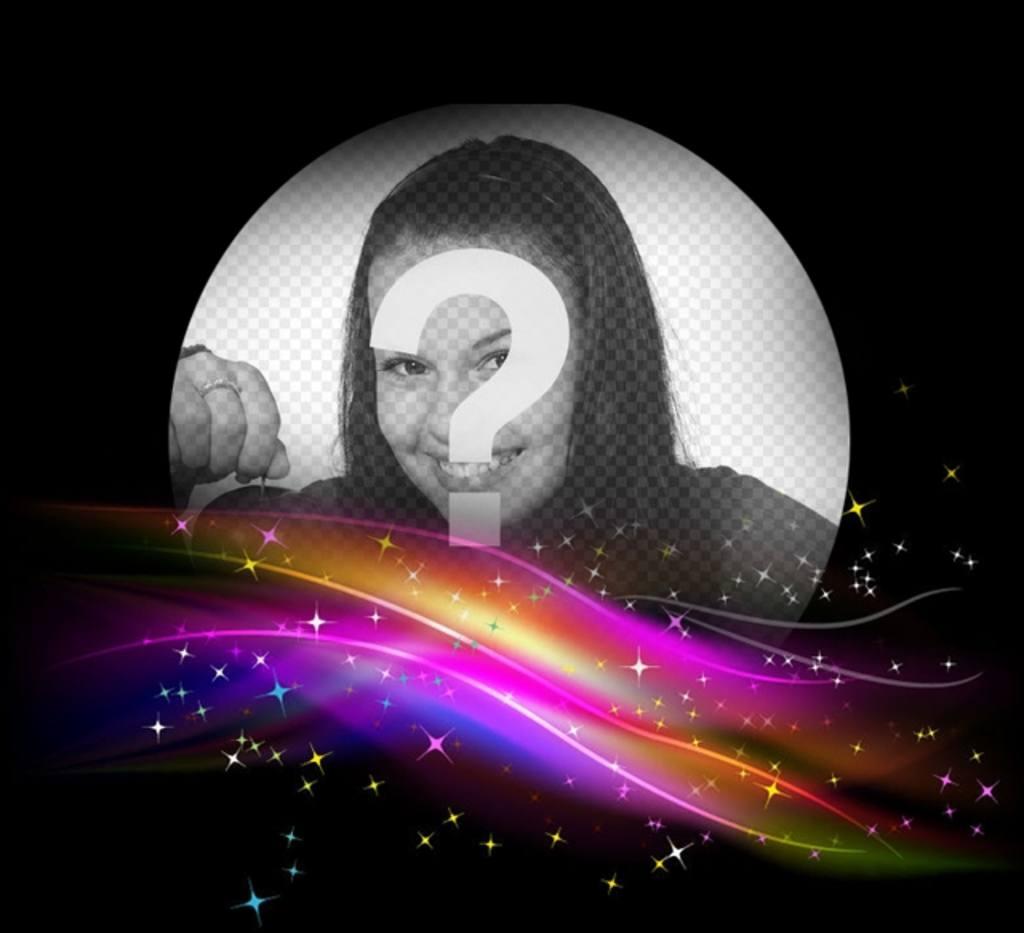 Cadre photo noir avec des lumières glowwing de couleurs vives sur le fond et un trou rond de mettre une photo