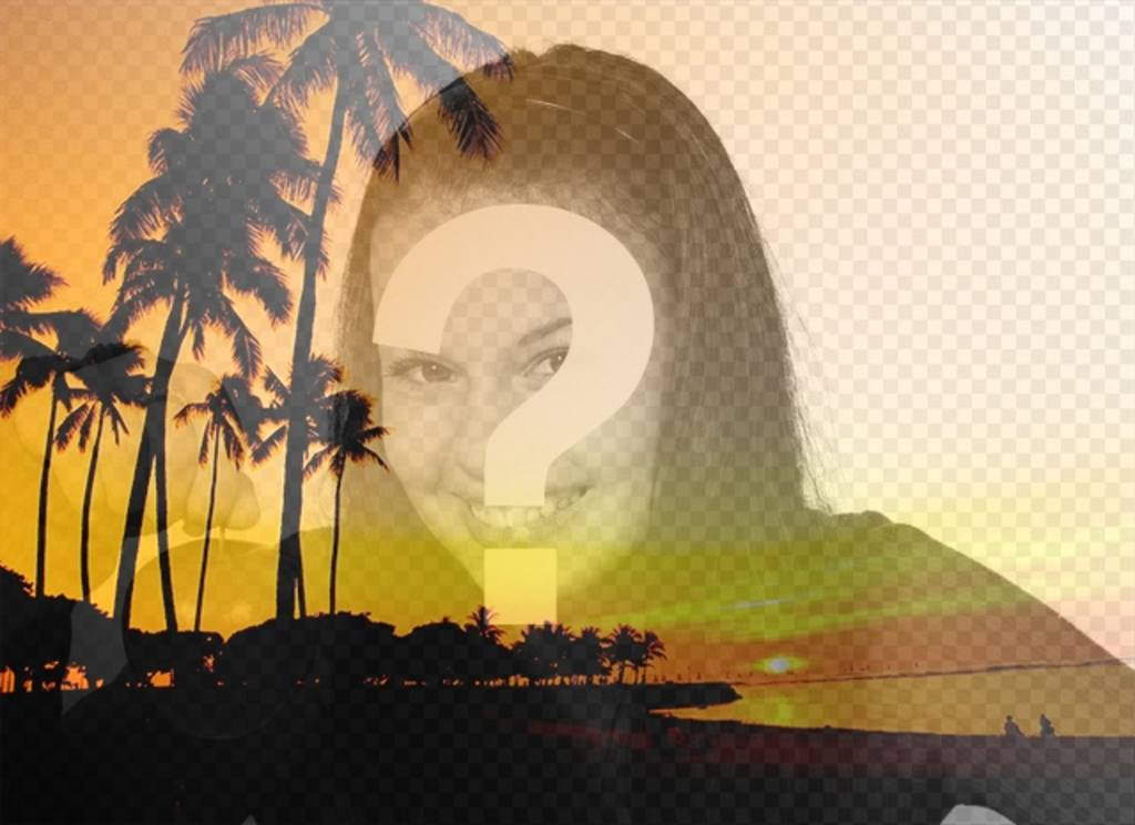 """Créer un collage avec un paysage d""""été avec une plage et des palmiers avec des tons orange et une photo de vous en ligne et gratuit"""