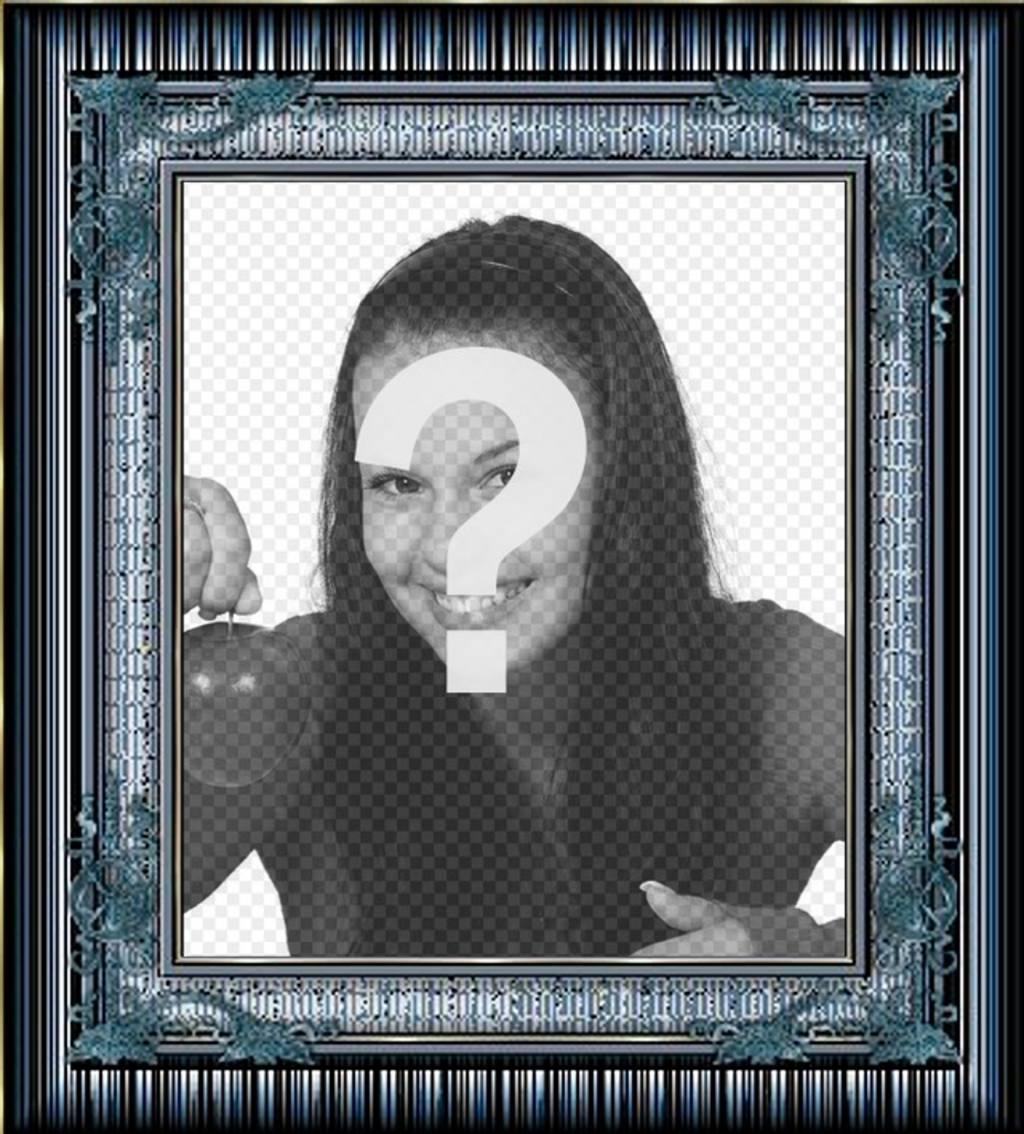 """Cadre photo avec de l""""or et bleu détails métalliques pour mettre une photo numérique gratuit"""