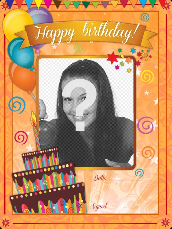"""Carte d""""anniversaire avec un fond orange et dessins drôles à personnaliser en ligne"""