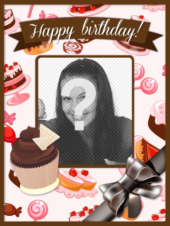 """Carte postale d""""anniversaire avec une photo et un texte de personnaliser et de gâteaux petits gâteaux roses et les bruns et un grand arc"""