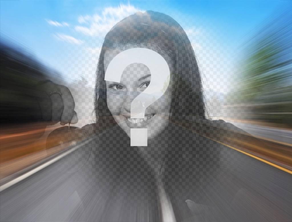 Filtrer avec une photo dune route sur lautoroute pour créer un collage en ligne avec votre photo au centre