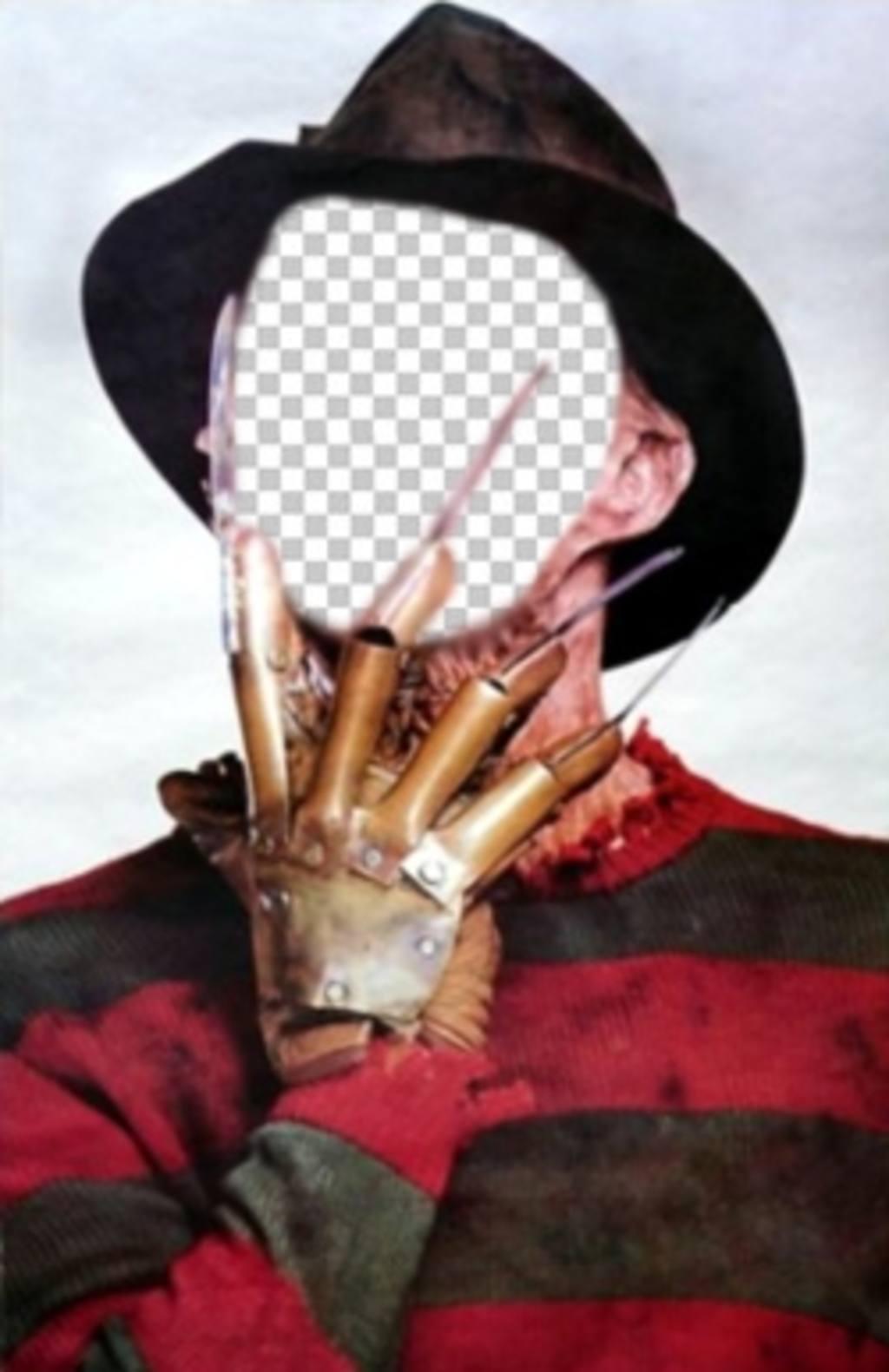 Montage photo de Freddy Krueger avec ses griffes dans le visage