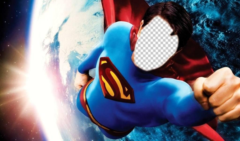 Photomontage pour devenir Superman volant au-dessus de la Terre