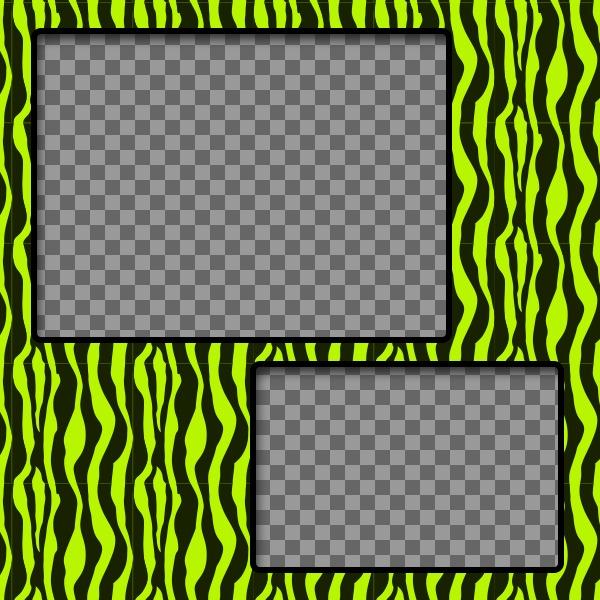 Créer un collage avec du vert et jaune à motifs zèbre et deux photos en ligne