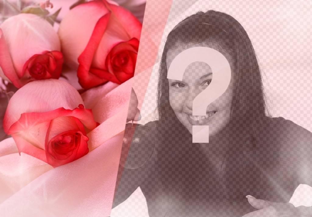 Photomontage romantique de mettre une photo de votre partenaire avec des roses sur soie, des perles et des éclairs de lumière