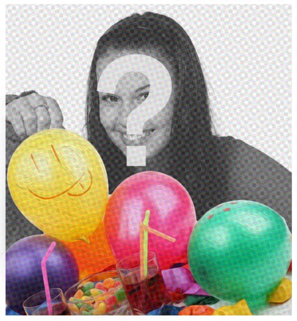Carte danniversaire avec filtre bande dessinée et des ballons pour mettre limage sur le fond et féliciter tout le monde
