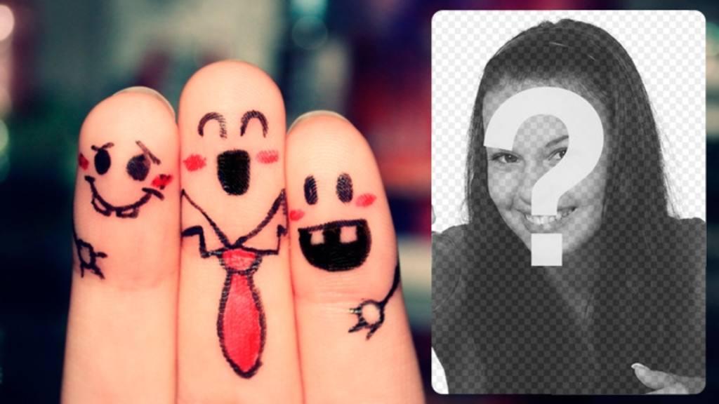 Cadre photo avec des amis heureux peintes sur les doigts où vous pouvez mettre une photo de vos amis et écrire un texte