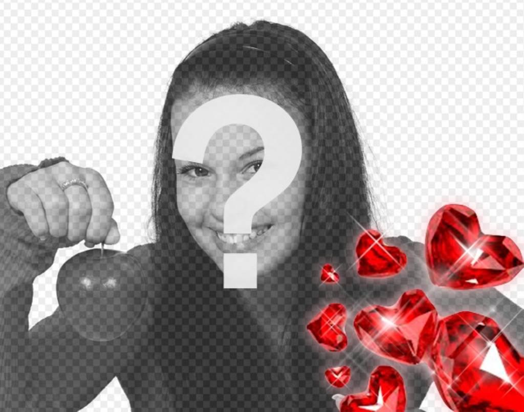 Red Diamonds en forme de coeur avec des éclairs de lumière pour décorer vos photos romantiques
