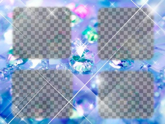 Créer un collage avec du bleu clair avec 4 diamants de photos téléchargées en ligne et ajoute également un texte