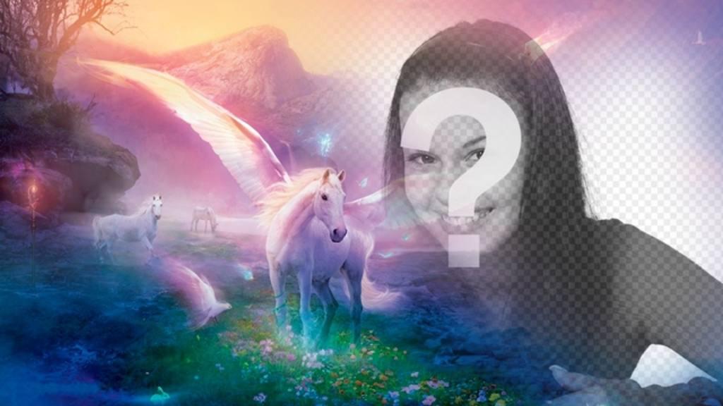 Photomontage Fantasy mettre votre photo avec des licornes blanches sur un paysage de rêve fantastique