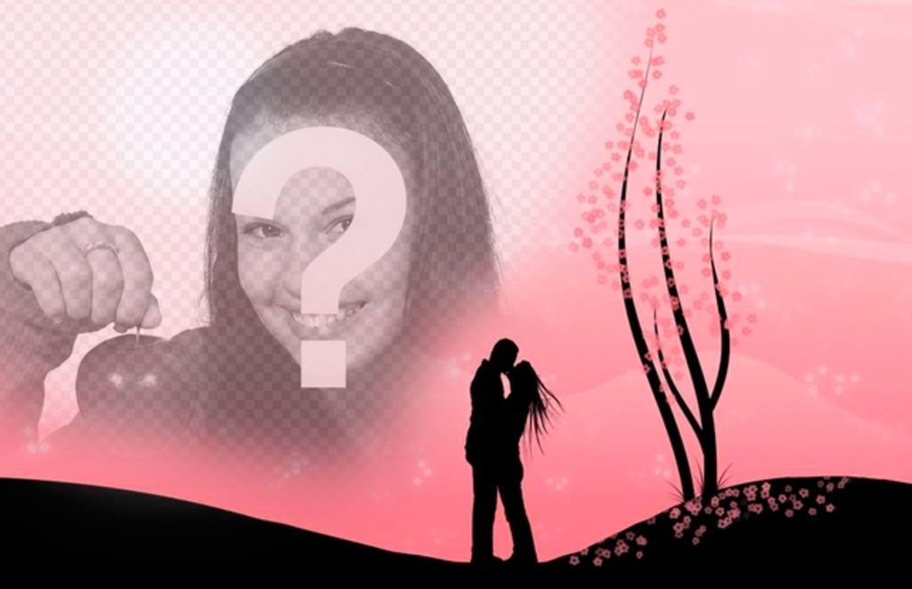 Crée un montage romantique avec cette image dun couple qui sembrasse dans un paysage avec des fleurs roses et limage que vous téléchargez en ligne