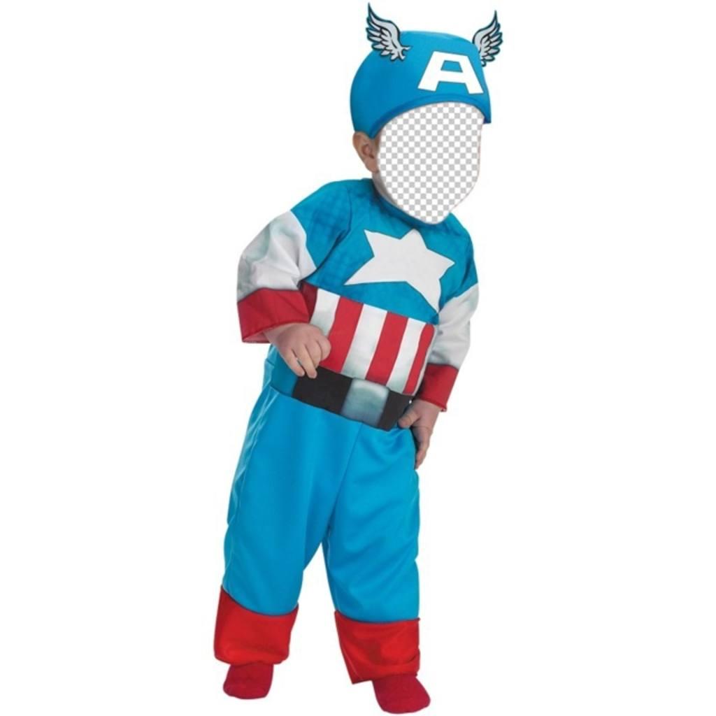 Enfants photomontages dun enfant habillé comme Captain America