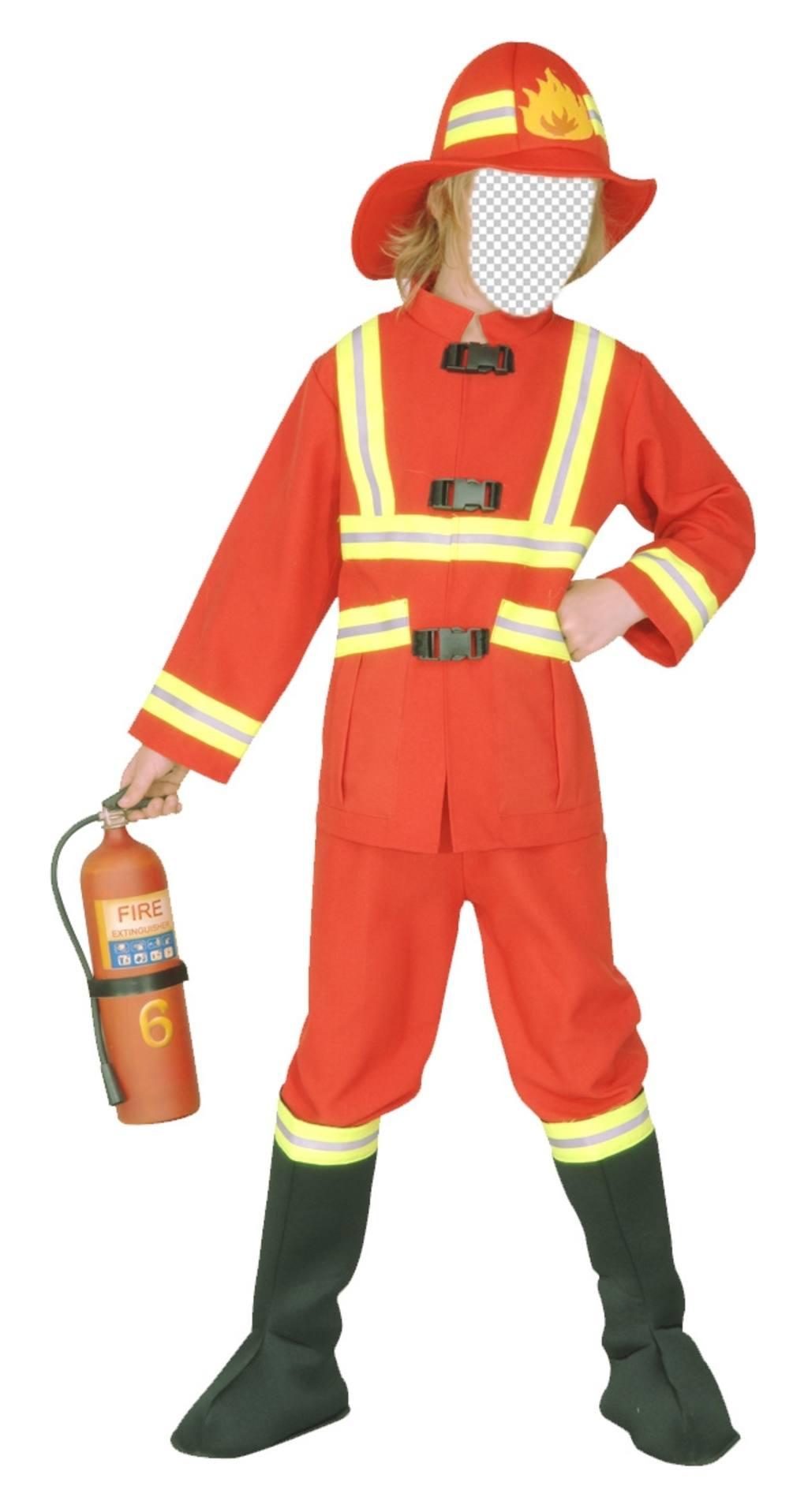 Photomontage de pompier pour déguiser les enfants en ligne