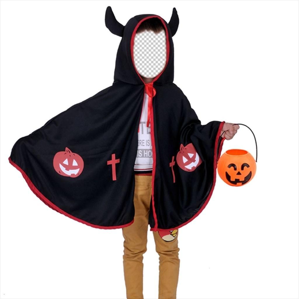 Photomontages Halloween pour les enfants de déguiser dun diable avec le costume enfant de cornes de porter un manteau noir tenant une citrouille, et avec des cornes imp. Avec léditeur en ligne, vous pouvez télécharger votre photo et dajuster le visage de cet enfant habillé et avoir un résultat amusant, vous pouvez partager sur les réseaux sociaux et de halloween davoir un costume virtuel et gratuit