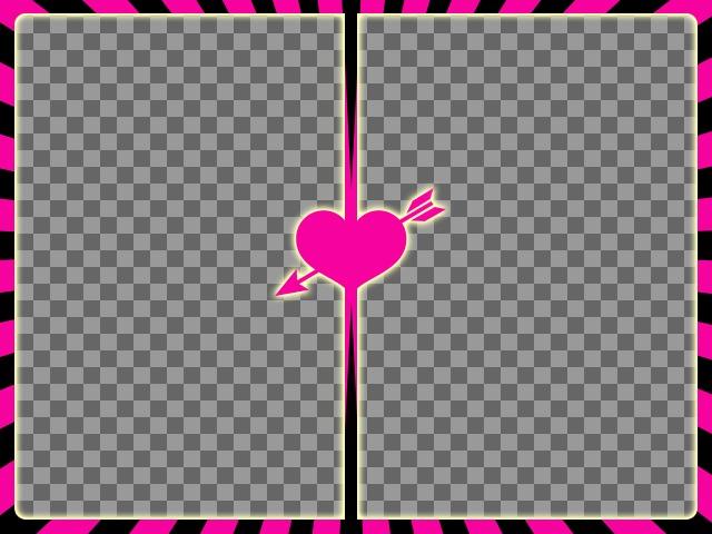 Fuchsia et cadre noir pour deux photos avec un coeur avec flèche au centre pour créer des collages photo avec vos photos romantiques