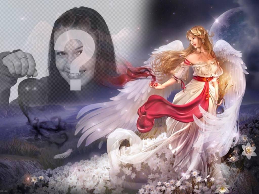 Créer un collage en ligne avec une femme ange ailé dans un monde fantastique entouré de fleurs