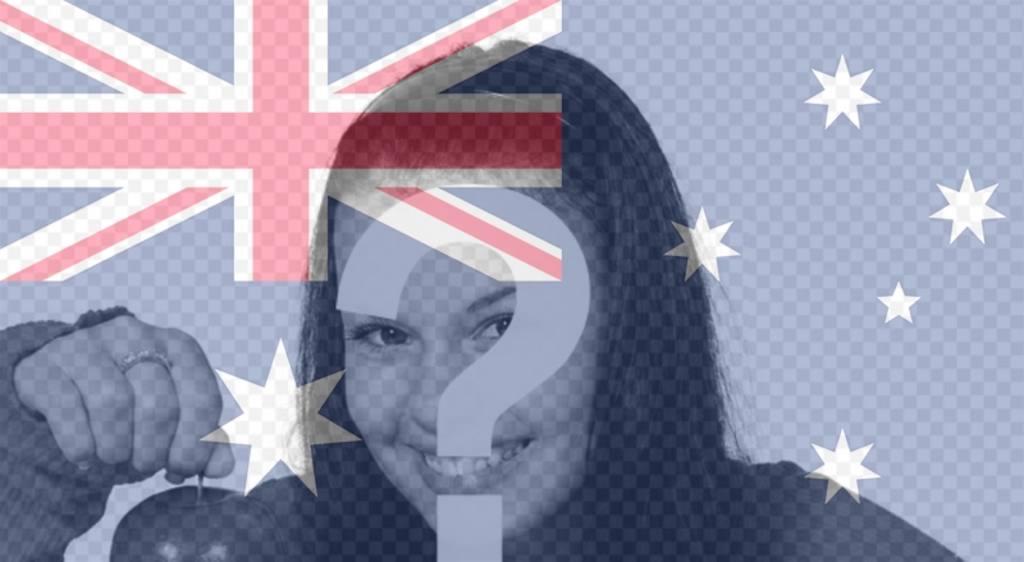 Cadre photo avec le drapeau de lAustralie verticalement pour personnaliser vos photos