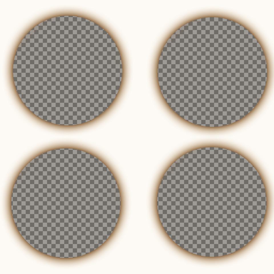Créer un collage composé de quatre photographies circulaires avec filtre sépia et lombrage autour de chaque photo