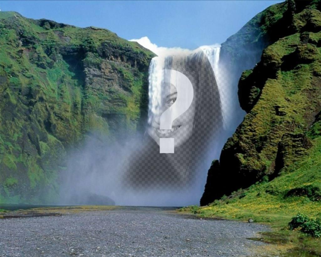 Photomontage avec une cascade au milieu dune montagne verte de mettre une photo en ligne gratuitement