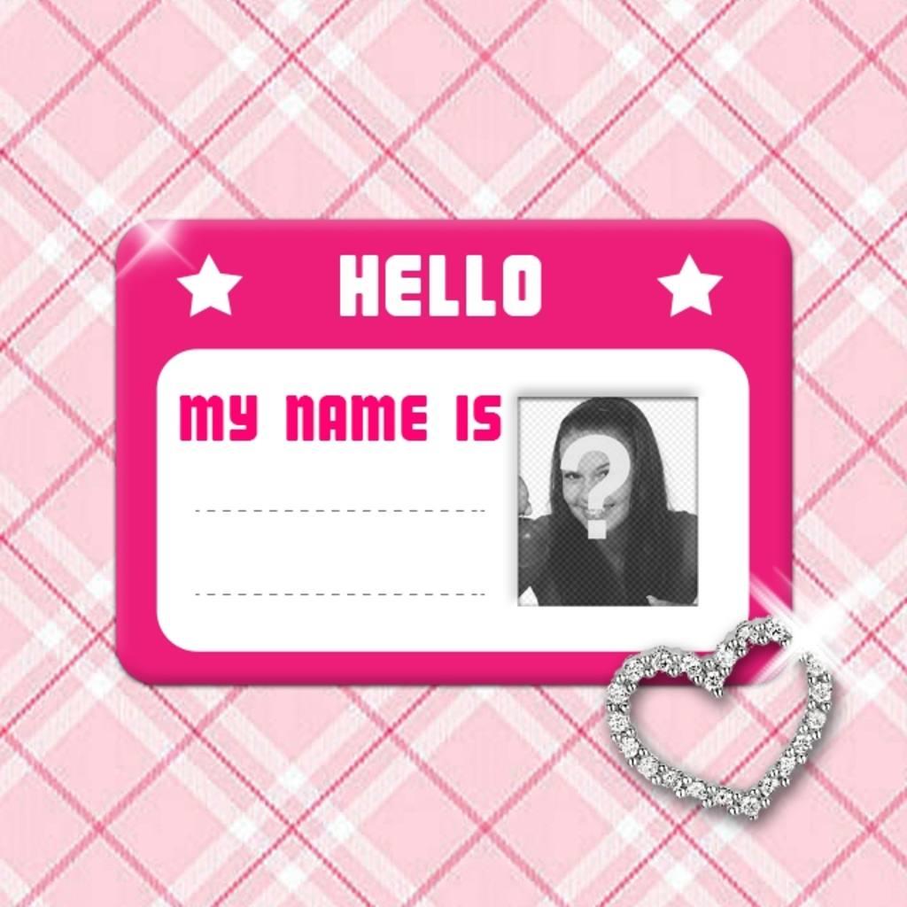Créer des collages avec une carte de visite rose avec des étoiles et un coeur rougeoyant dans lequel vous pouvez mettre une photo et le nom complet sur un tissu rose