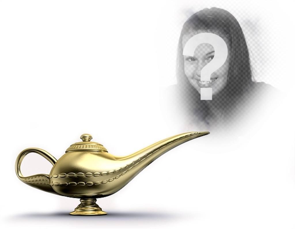 Photomontage Avec Une Lampe Magique Dor Qui Emet De La Fumee Ou Vous