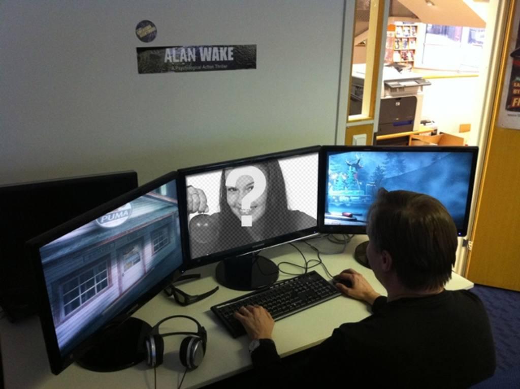 Photomontage avec un joueur de jeu vidéo et de la photo sur lordinateur à côté de deux écrans