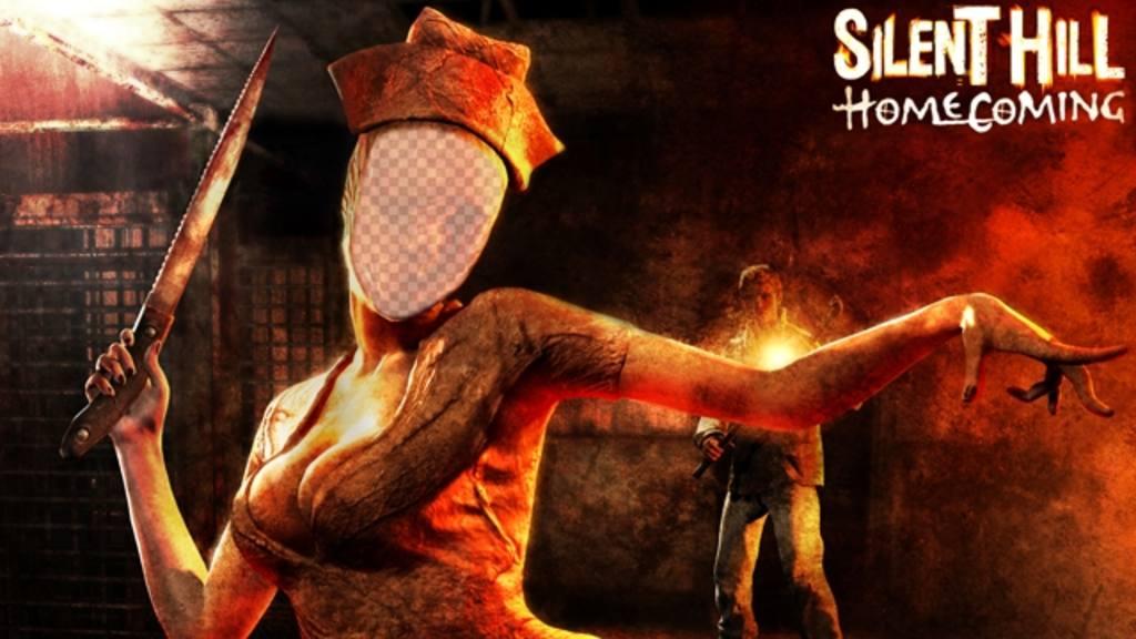 Créer un montage photo avec linfirmière zombie terrifiant deffet de Silent Hill pour les fans du jeu Silent Hill, vous pouvez modifier avec votre photo et de mettre votre visage dans une infirmière zombie avec un couteau et deffrayer vos amis avec leffet en ligne quil est également parfait à porter à lhalloween. Ajouter un filtre à votre image et devenir un personnage dhorreur
