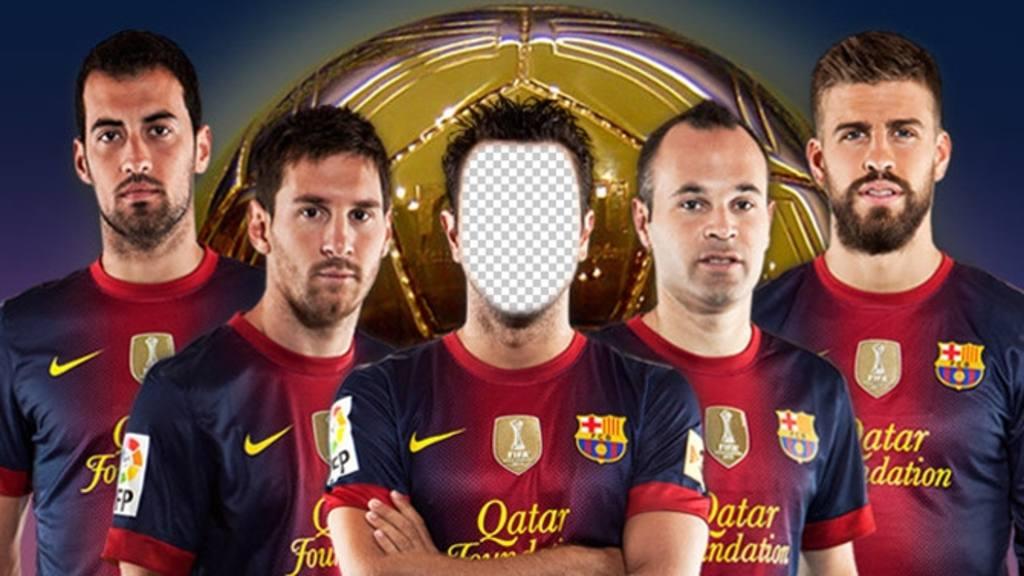 Photomontage où vous pouvez mettre votre photo sur un joueur de football de Barcelone