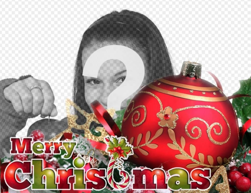 Carte postale de Noël avec boule rouge et ornements avec le texte JOYEUX NOËL aux couleurs de Noël