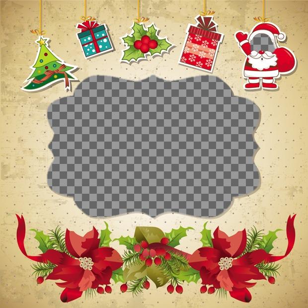 Amusement de Noël carte postale que vous pouvez faire avec 2 photos, qui mettent un visage sur le Père Noël et une photo dans une boîte de Noël