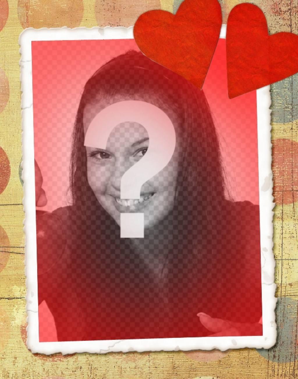 Carte damour avec votre photo, ton rouge et deux coeurs