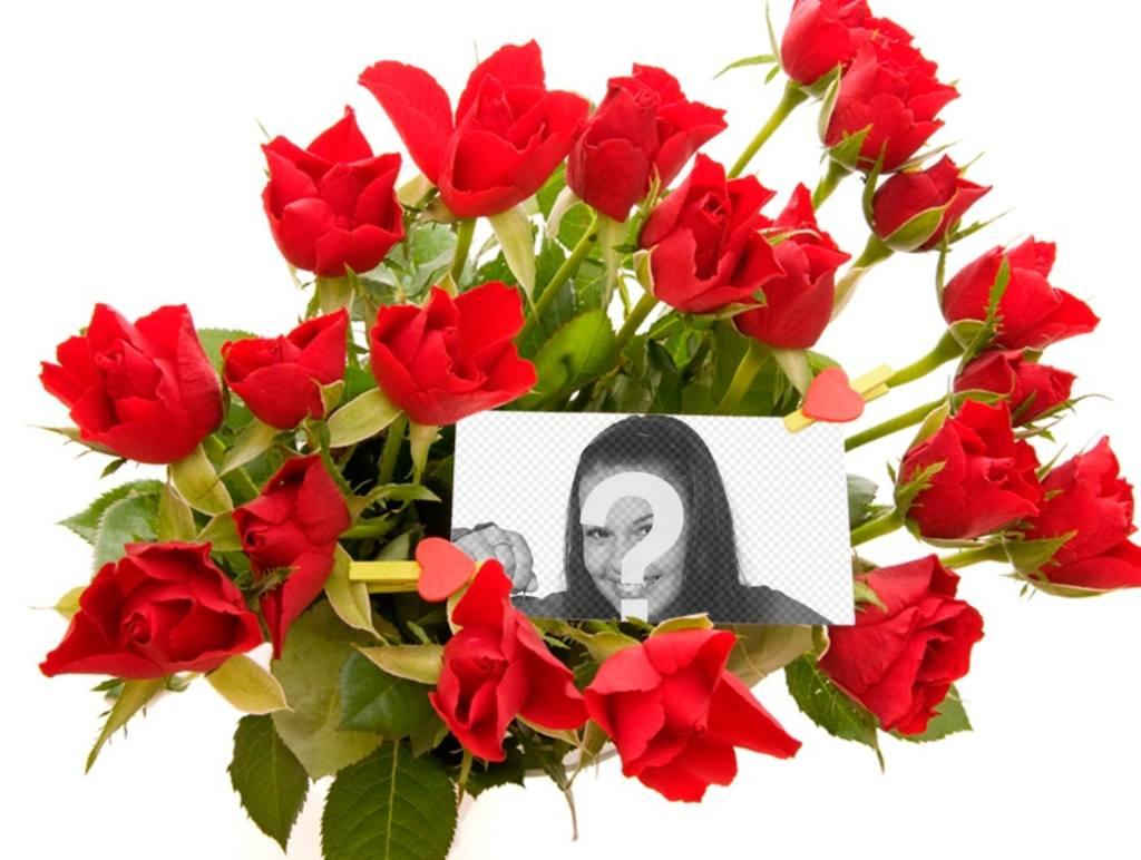 Photo effet à ajouter une photo au milieu dun bouquet de roses