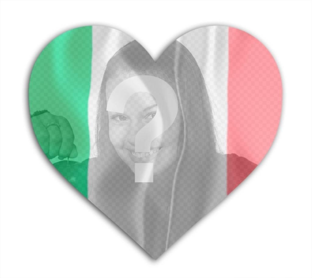 Effet photo de coeur de drapeau italien en forme pour mettre votre photo. effet