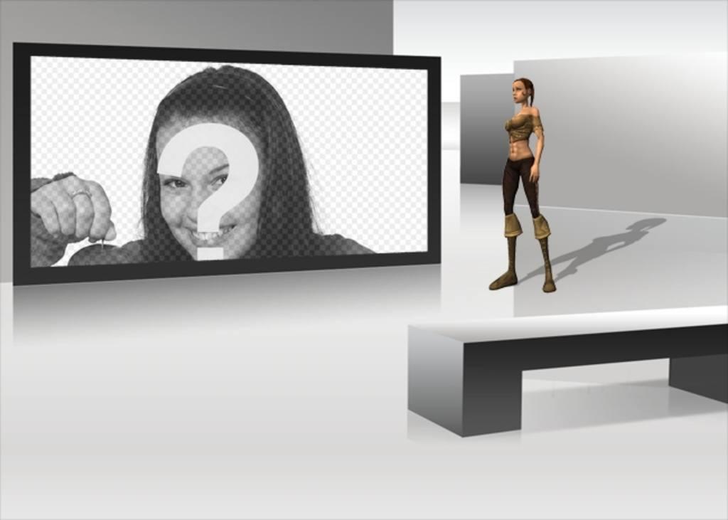 futuriste cadre photo tv avec une femme la recherche 3d photoeffets. Black Bedroom Furniture Sets. Home Design Ideas