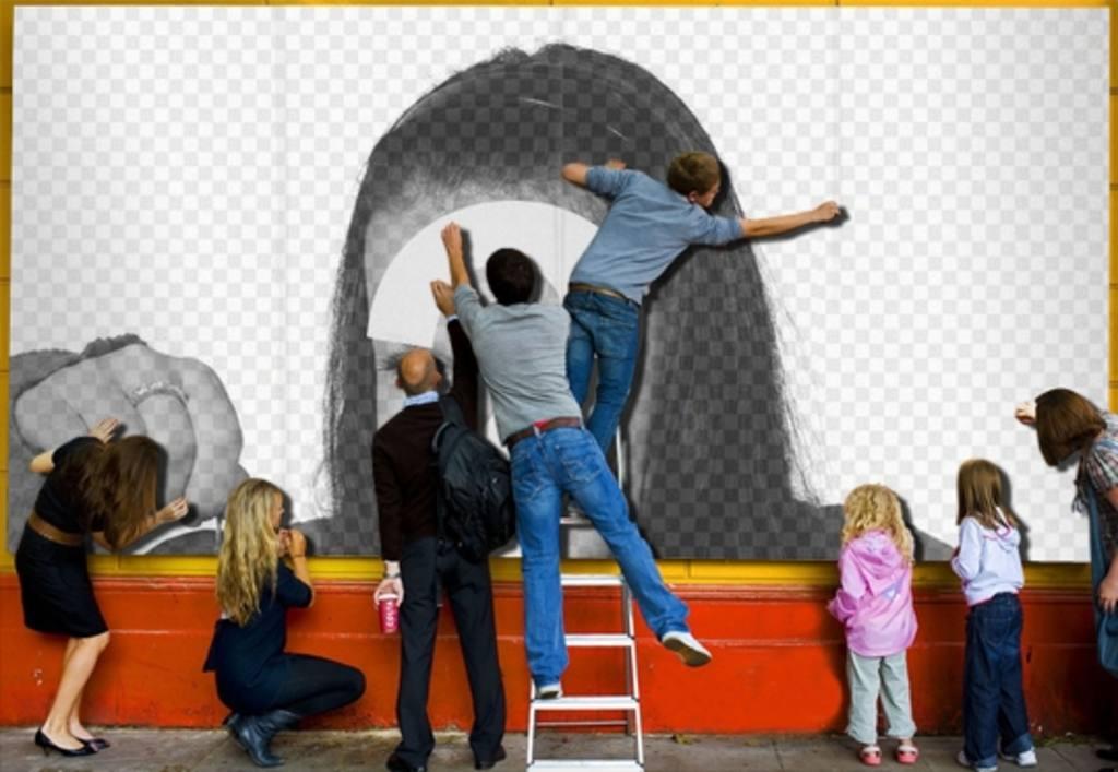 Photomontage Os à poster dans la rue où vous pouvez mettre votre photo à fond, très réaliste