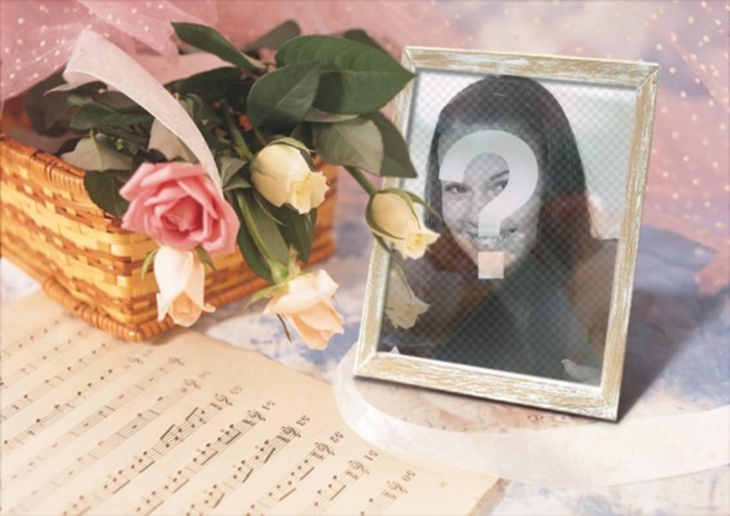 Cadre pour des photos en ligne où vous pouvez mettre votre photo dans un cadre photo avec un panier de roses et une partition de musique